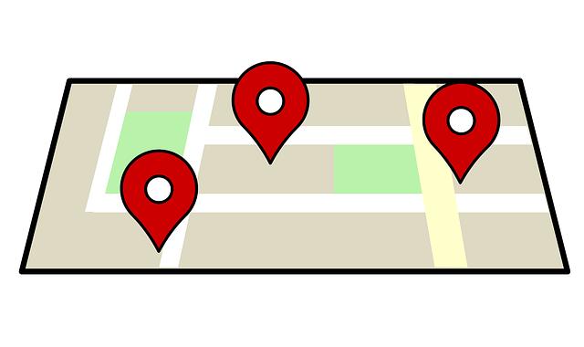 Carte avec géolocalisation des biens immobilier dans un quartier d'une ville de taille moyenne.