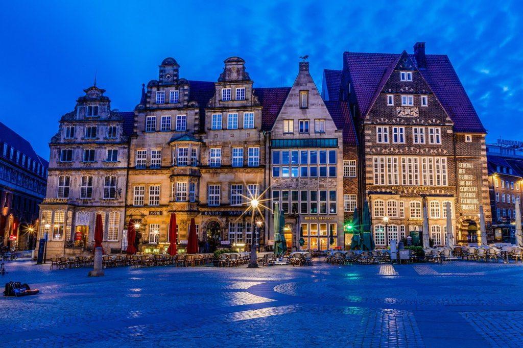 bremen, marketplace, blue hour