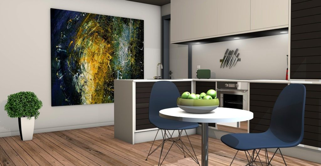 kitchen, living room, 3d mockup